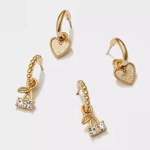 18k Set of Huggie Tiny Gold Helix Earrings
